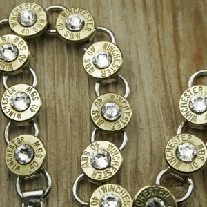 40 Caliber Brass Tennis Bracelet with Clear Swarovski Crystals