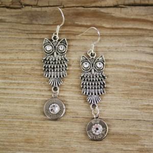 9mm Owl Drop Earrings