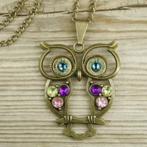 Colorful Brass Owl Bullet Necklace
