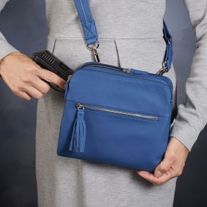 Cross Body Concealed Carry Purse Blue Draw