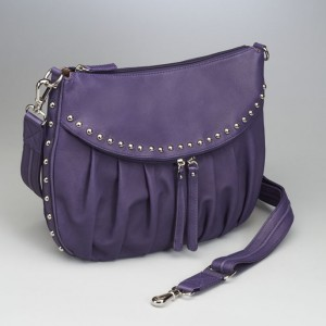 Designer Leather Concealed Carry Purse Purple