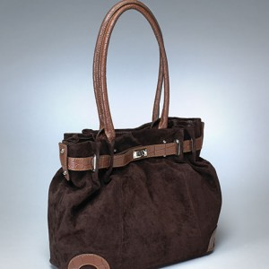 Designer Suede Concealed Carry Bag Brown