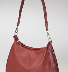 Leather Hobo Concealed Carry Handbag Red