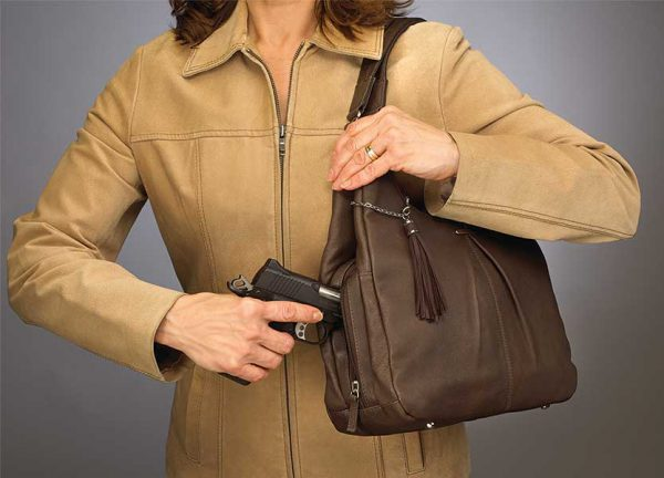 pleated leather concealed carry purse